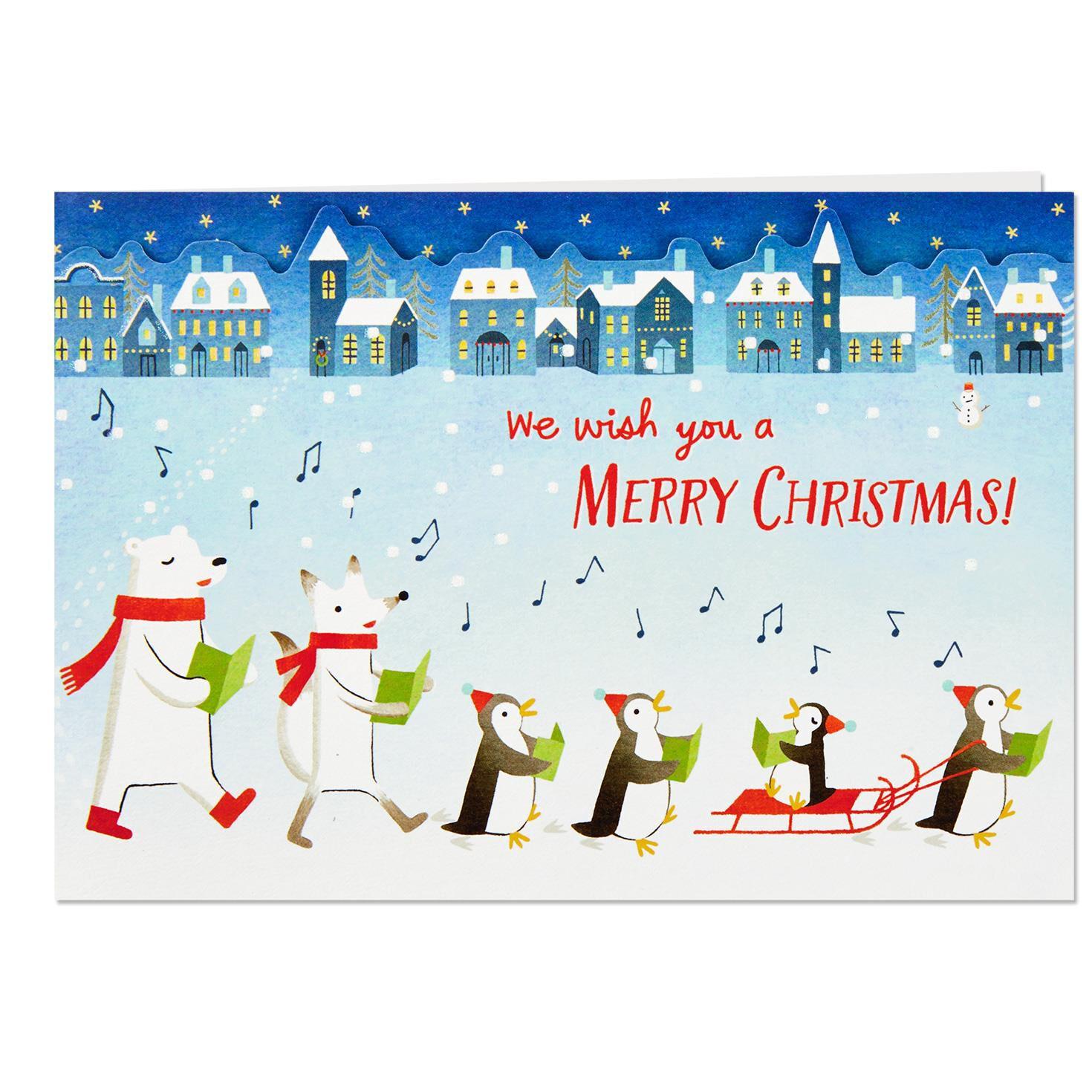 Merry Christmas Greetings.We Wish You A Merry Christmas Caroling Animals Pop Up Christmas Card