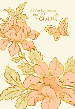 Butterfly and Flowers Loss of Aunt Sympathy Card