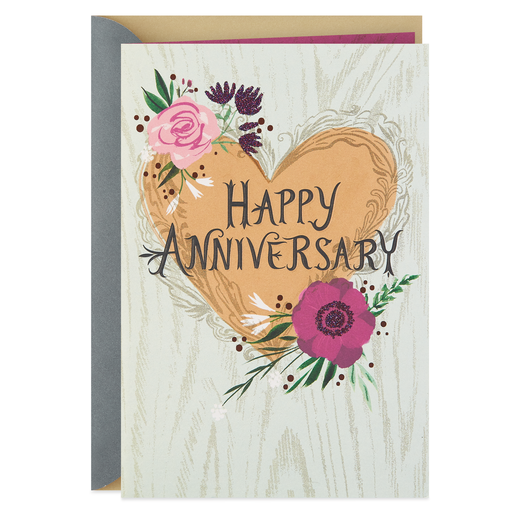 3f419323f4f9 Heart and Flowers With Glitter Anniversary Card