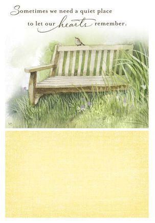 Gentle Healing Bench Sympathy Card
