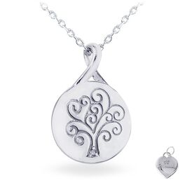Diamond Accent Tree of Life Necklace  in Sterling Silver, , large