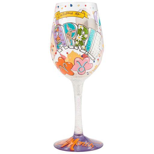 LolitaR April Birthday Month Handpainted Wine Glass 15 Oz