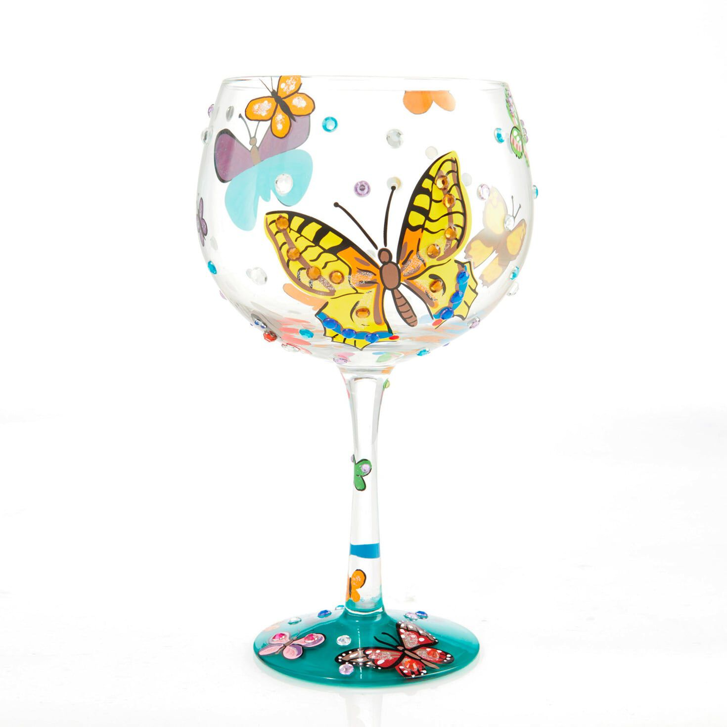 Personalised Wine Glass Gift Box Butterfly 18 21 Birthday Mother Hand Painted