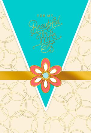 Gold Circles With Flower Overlay for Wife Mother's Day Card