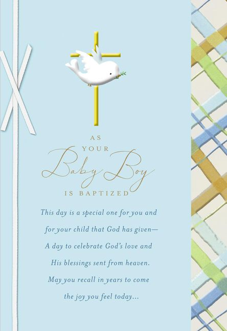 Dove With Gold Cross Baby Boy Baptism Card Greeting Cards Hallmark