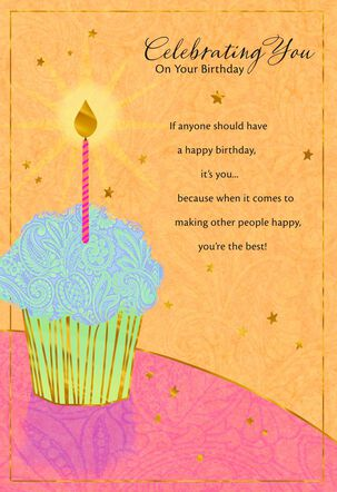 Bold Blue Cupcake and Candle Birthday Card