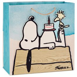"Peanuts® Snoopy With Birthday Cake Large Square Bag, 10.5"", , large"