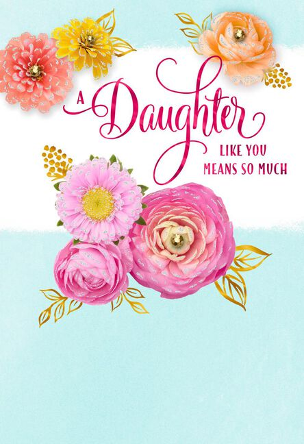 Daughter So Proud Of You Floral Mothers Day Card Greeting Cards