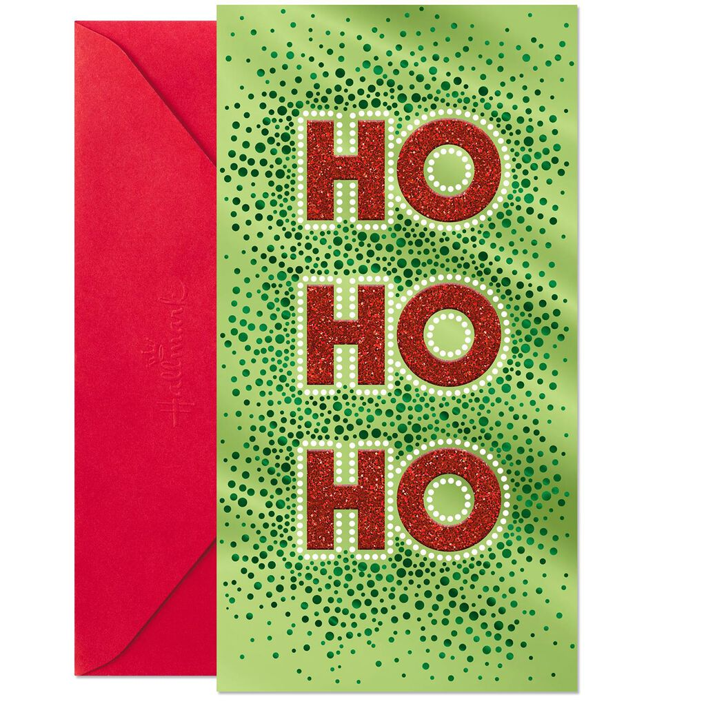 Festive Ho Ho Ho Money Holder Christmas Card - Greeting Cards - Hallmark