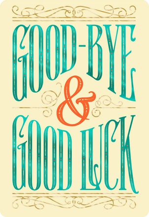 Good-Bye and Good Luck Jumbo Good Luck Card, 16.25""