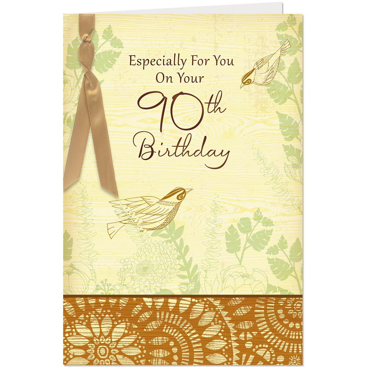 Birds And Flowers 90th Birthday Card