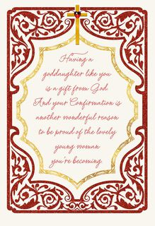 With Love and Prayers Religious Confirmation Card for Goddaughter,