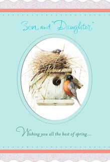 Marjolein Bastin Bird House Easter Card for Son and Daughter-in-Law,