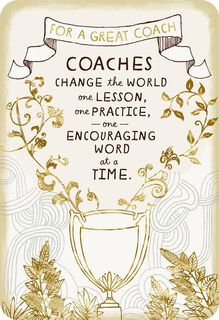 Trophy for a Great Coach Thank You Card,