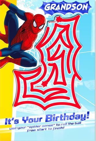 marvel spider man birthday card for grandson with pinball maze