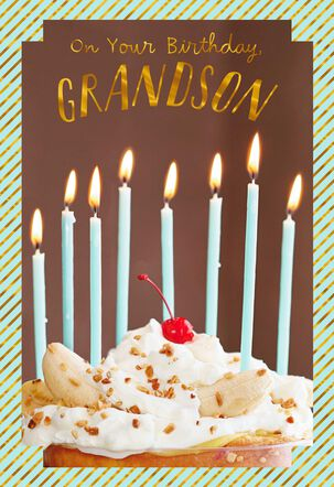 Sundae and Candles Birthday Card for Grandson