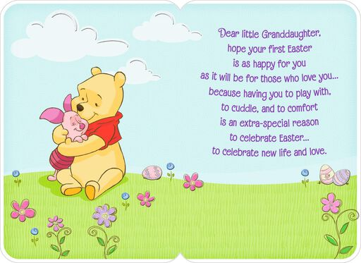 Pooh Granddaughter's First Easter Card,