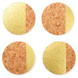 Metallic Gold Accented Cork Coasters, Set of 4, , large