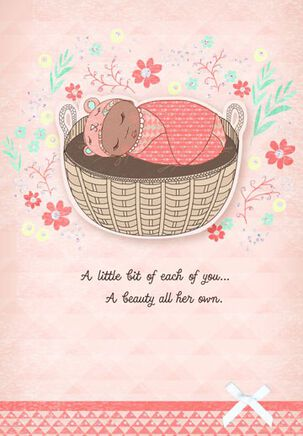 Bassinet New Baby Girl Congratulations Card