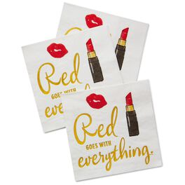 Red Lipstick Beverage Napkins, Pack of 20, , large