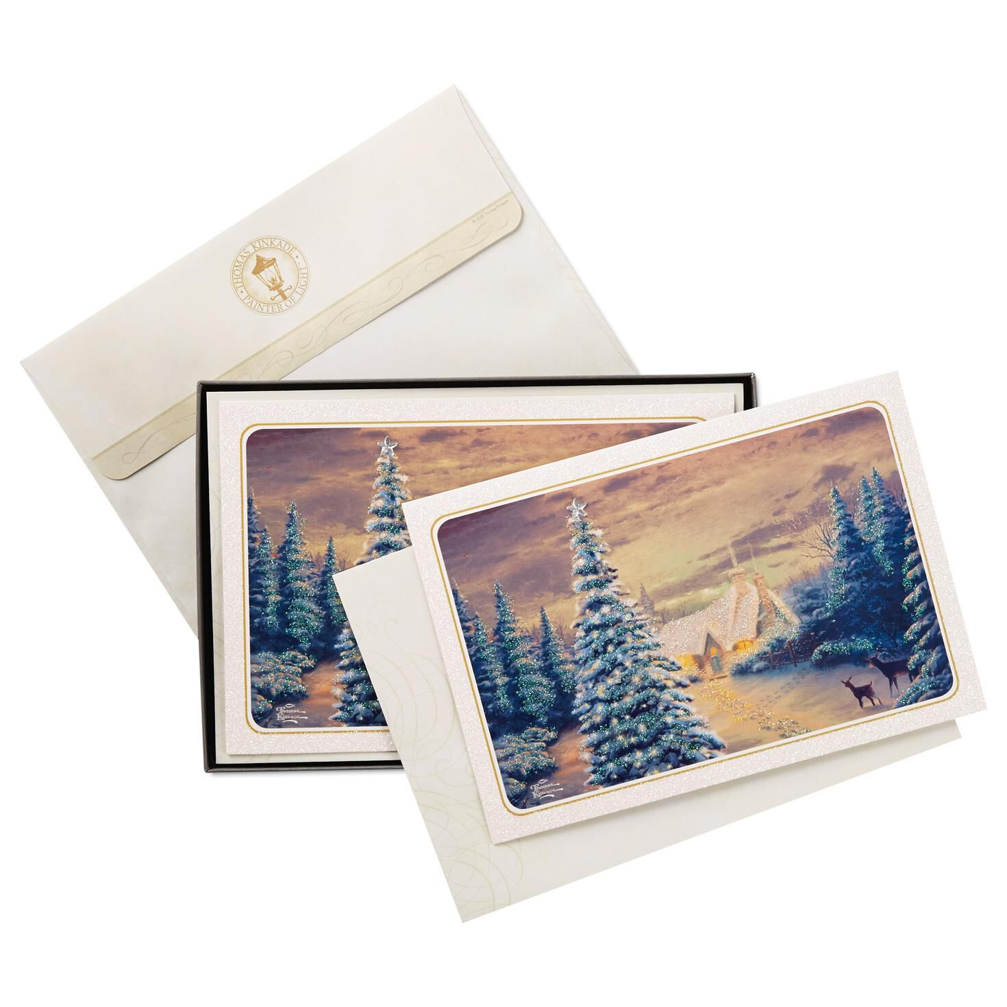 thomas kinkade wintry day with deer christmas cards box of 12 boxed cards hallmark - Deer Christmas Cards