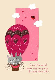 Bunnies in Balloon Religious Valentine's Day Card,