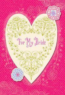 Filigree Heart Wedding Card,