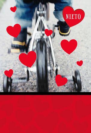 Kid on Bike Spanish-Language Valentine's Day Card for Grandson