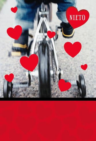 Kid on bike spanish language valentines day card for grandson m4hsunfo