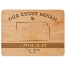 Where Our Story Began Personalized Wood Cutting Board, , large