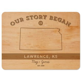 Where Our Story Began Personalized Wood Cutting Board,