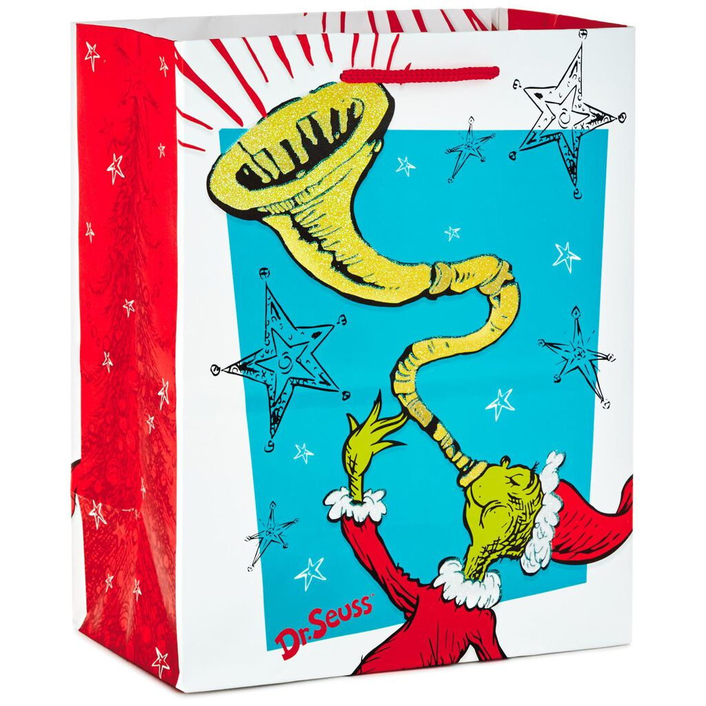 Dr. Seuss™ Grinch With Horn Medium Christmas Gift Bag, 9.5\