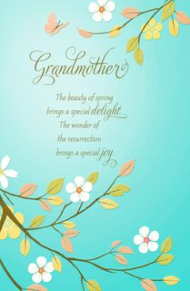 Dogwood Blossoms Religious Easter Card for Grandmother,