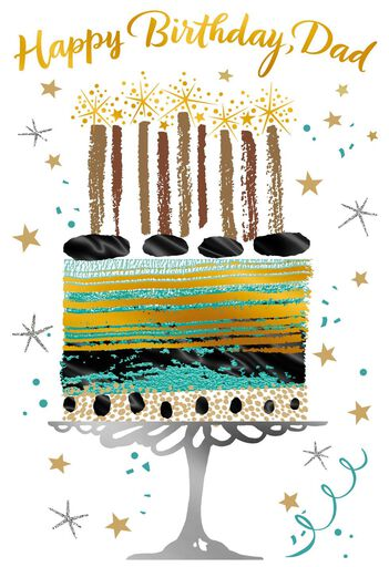 Gold Foil Cake Birthday Card For Dad