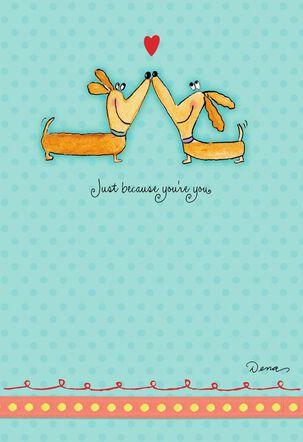 Dena Designs Kissing Dogs Romantic Love Card