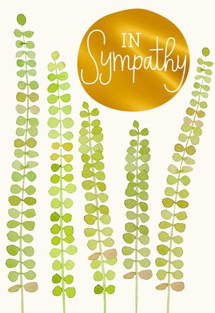 Ferns and Gold Foil Sympathy Cards, Pack of 10
