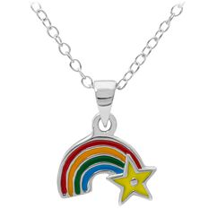 Sterling silver children 39 s rainbow and star pendant for Star hallmark on jewelry