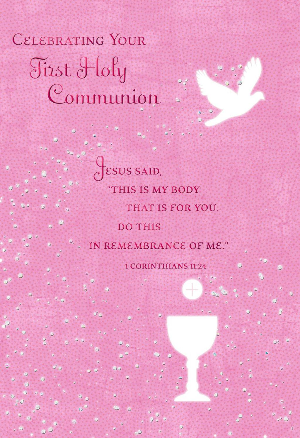 Remembering Jesus First Communion Card For Girl