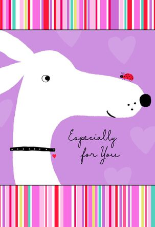 Dog and Ladybug Valentine's Day Card for Friend