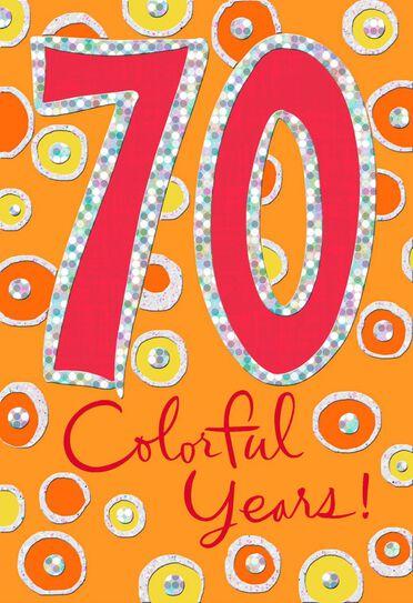 Colorful Circles 70th Birthday Card Greeting Cards Hallmark