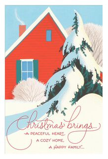 Peaceful Heart, Cozy Home Christmas Card,