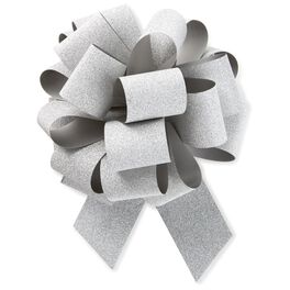 "Silver Super Glitter Pull Bow, 5.5"", , large"