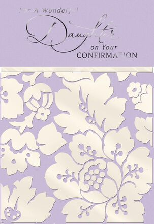 Purple With White Flowers Confirmation Card for Daughter