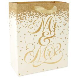 "Gold Glitter Mr. and Mrs. Large Gift Bag, 13"", , large"