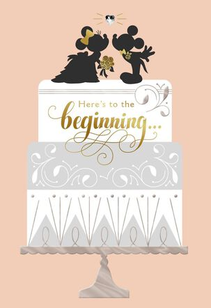 Mickey Mouse and Minnie Mouse Classic Romance Wedding Card