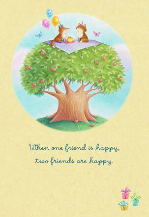 Happy Animals Picnicking Friend Birthday Card