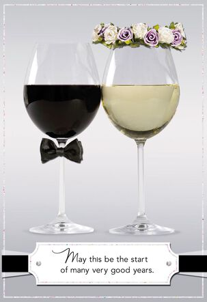 Bride and Groom Decorated Glasses Wedding Card