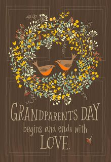 Two Lovebirds in a Wreath Grandparents Day Card,