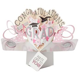 Hats Off to You Pop-Up Graduation Card for Her, , large