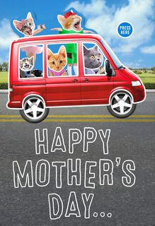 Cat Family Musical Mother's Day Card From Us,